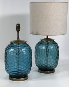 pair of blue cut glass lamps on distressed brass bases (T5044)