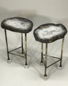 Pair of browny agate side tables with antique brass bases and rock crystal ball feet (T5056)