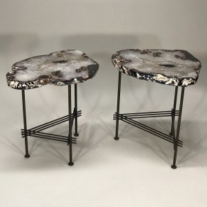 Pair of beautiful agate side tables on simple stretcher base (T5065)