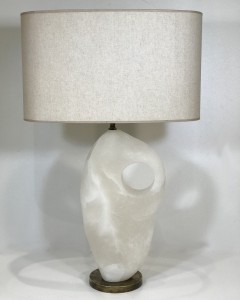 a single large alabaster lamp on distressed brass base (T5082)