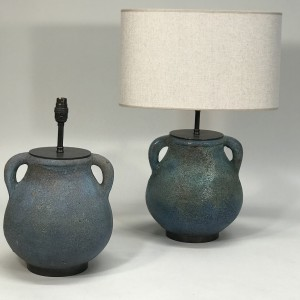 pair of small blue textured ceramic urn lamps on bronze bases (T5107)