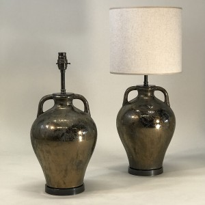 pair of small gold brown ceramic urn lamps on brown bronze bases (T5130)