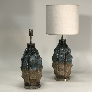 pair of small blue and brown vase shaped mid century style ceramic lamps (T5138)