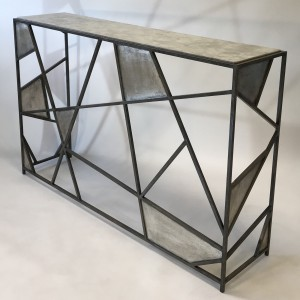 Wrought Iron Elissa Console Table In Mouses Back And Distressed Silver Finish And Marble Top. (T5144)