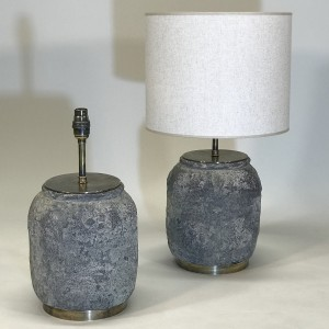 pair of small grey rustic ceramic lamps on antique brass bases (T5150)