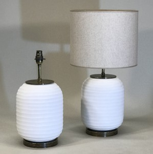 pair of small white cut glass lamps on antique brass bases (T5156)