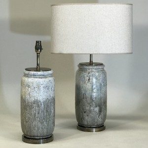 pair of medium grey rustic lamps on antique brass bases (T5157)