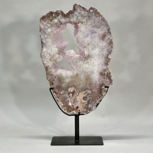 Extra Large And Special Rosey Quartz Slice On Iron Stand (T5202)