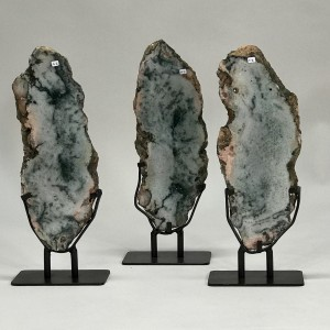 tall green agate slices on iron bases (T5208)