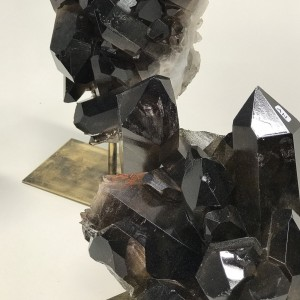 Very Dark Smokey Quartz Natural Crystals On Antique Brass Bases (T5209)