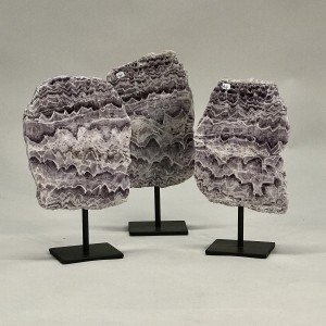 Slices Of Beautiful 'missoni' Stone On Iron Bases (T5214)