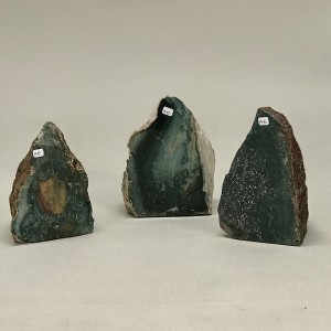 Chunks Of Coffee Obsidian Stone With One Polished Face (T5222)