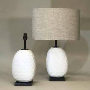 pair of small white cut glass lamps on brown bronze bases (T5250)