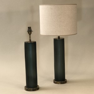 pair of small green/grey cut glass 'Laura' lamps on antique brass bases (T5259)