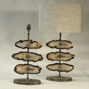 pair of small brown agate disc lamps on antique brass bases (T5265)