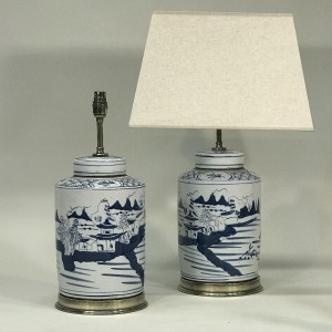 pair of small blue & white hand painted ceramic lamps on antique brass bases (T5283)