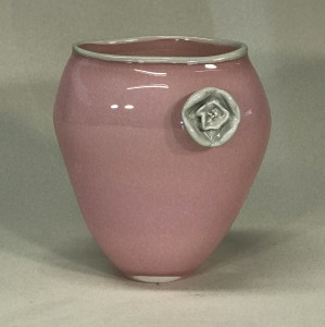 coco glass vase pink & body with cream rim & camelia (T5285)