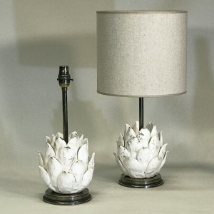 pair of small cream ceramic artichoke lamps on antique brass bases (T5307)