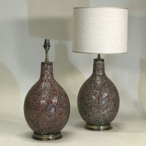pair of medium red ceramic lamps with balloon shape on antique brass bases (T5309)