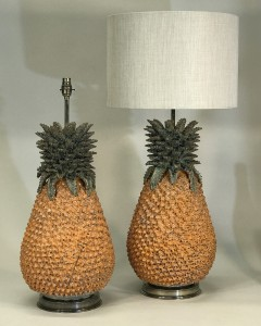 pair of large orange ceramic pineapple lamps on antique brass bases (very heavy) (T5313)