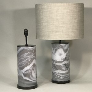 pair of medium brown warm alabaster glass tube lamps (T5319)