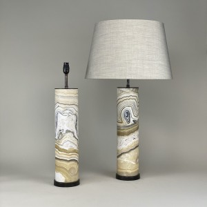 pair of large zebra onyx lamps on brown bronze bases (T5431)