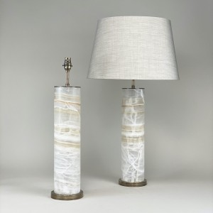 pair of large onyx lamps with antique brass bases (T5432)