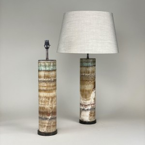 pair of large rainbow onxy lamps on brown bronze bases (T5433)