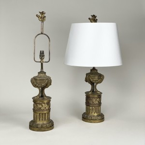 pair of 19th century bronze French chenets converted to table lamps (T5435)