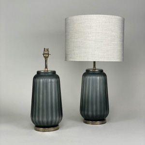 pair of medium grey cut glass lamps on antique brass bases (T5436)
