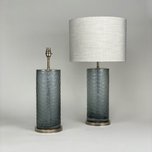 pair of medium dimpled grey glass lamps with antique brass bases (T5437)