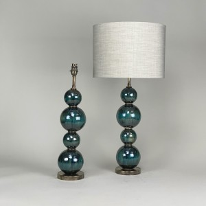 pair of medium blue stacked four ceramic ball lamps with antique brass bases (T5439)